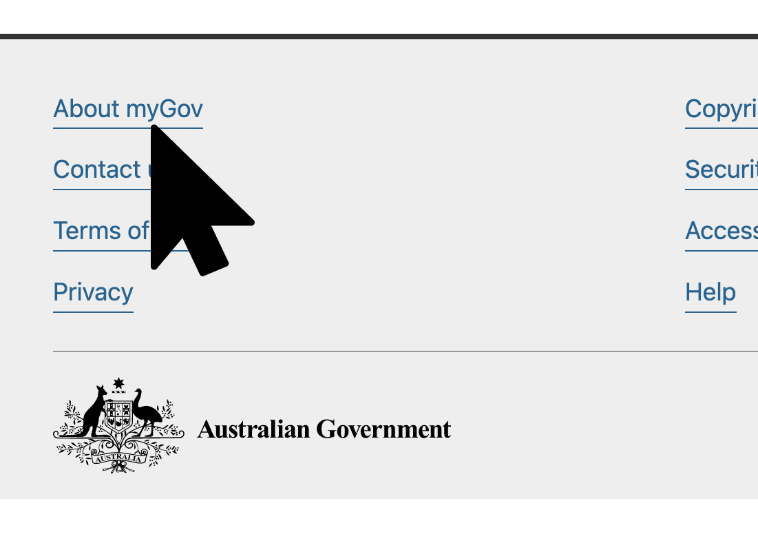 myGov website showing About and Security links