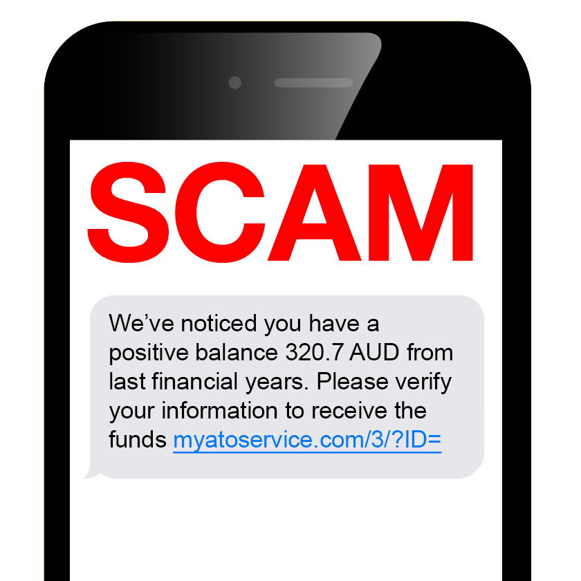 Image of a Scam SMS message on a mobile phone with the word SCAM in bright red capital letters.