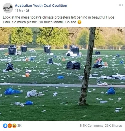 Image of a Sydney park with rubbish scattered everywhere claiming to be rubbish left behind from a protest.The image is an example of fake news.