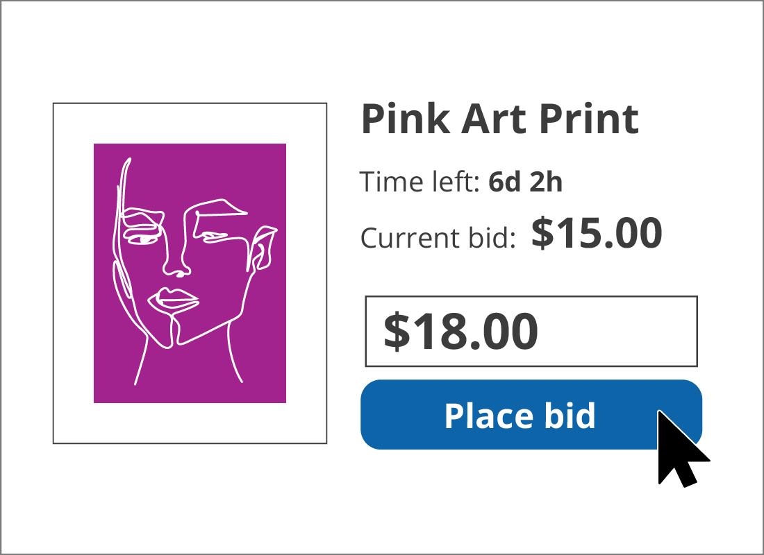 Placing a bid on the item