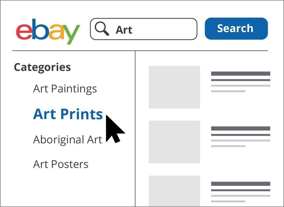 Choosing the art prints category