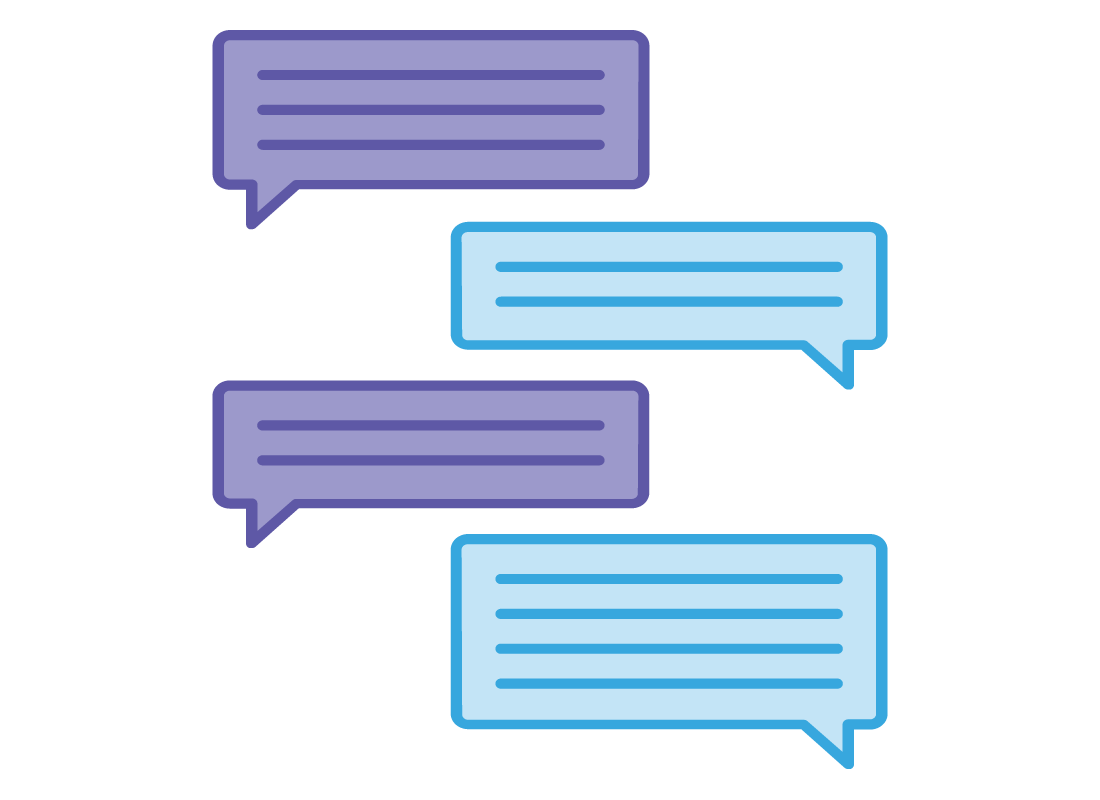 A graphic showing a simple exchange of text messages between two people.