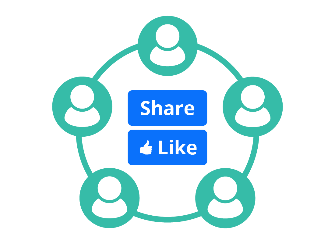 A graphic depicting how social media connects many people together through sharing and liking each other's posts.