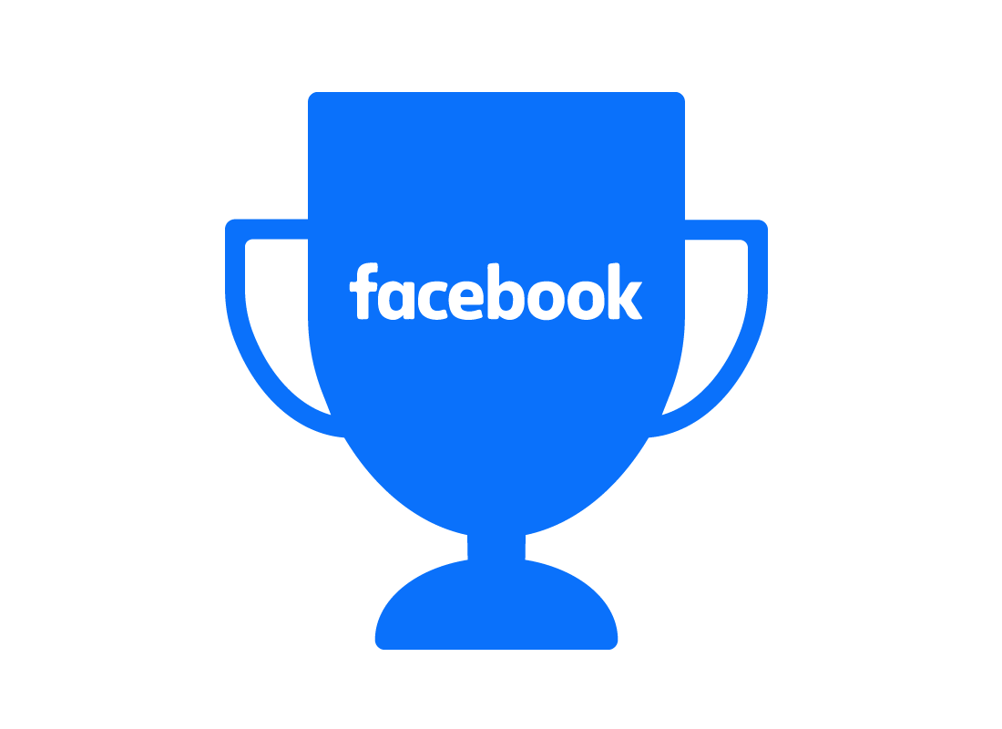 The Facebook logo on a trophy, indicating it is a world-leading social media platform in terms of popularity.