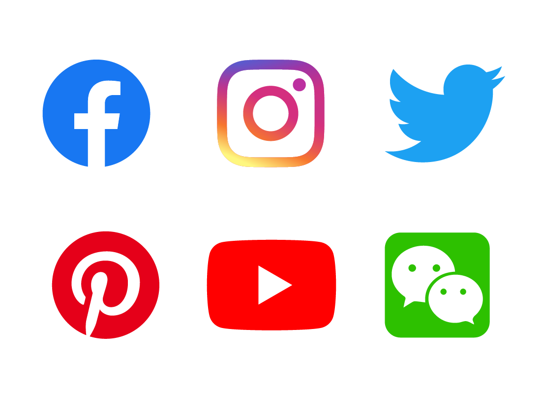 The logos of Facebook, YouTube, Instagram, twitter, Pinterest and WeChat, being some of the most popular social media companies around today.
