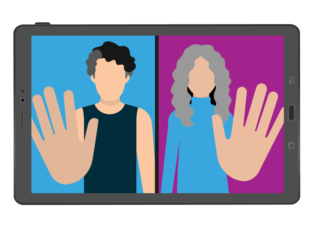 A graphic of two people using Zoom and waving goodbye at the end of their call.