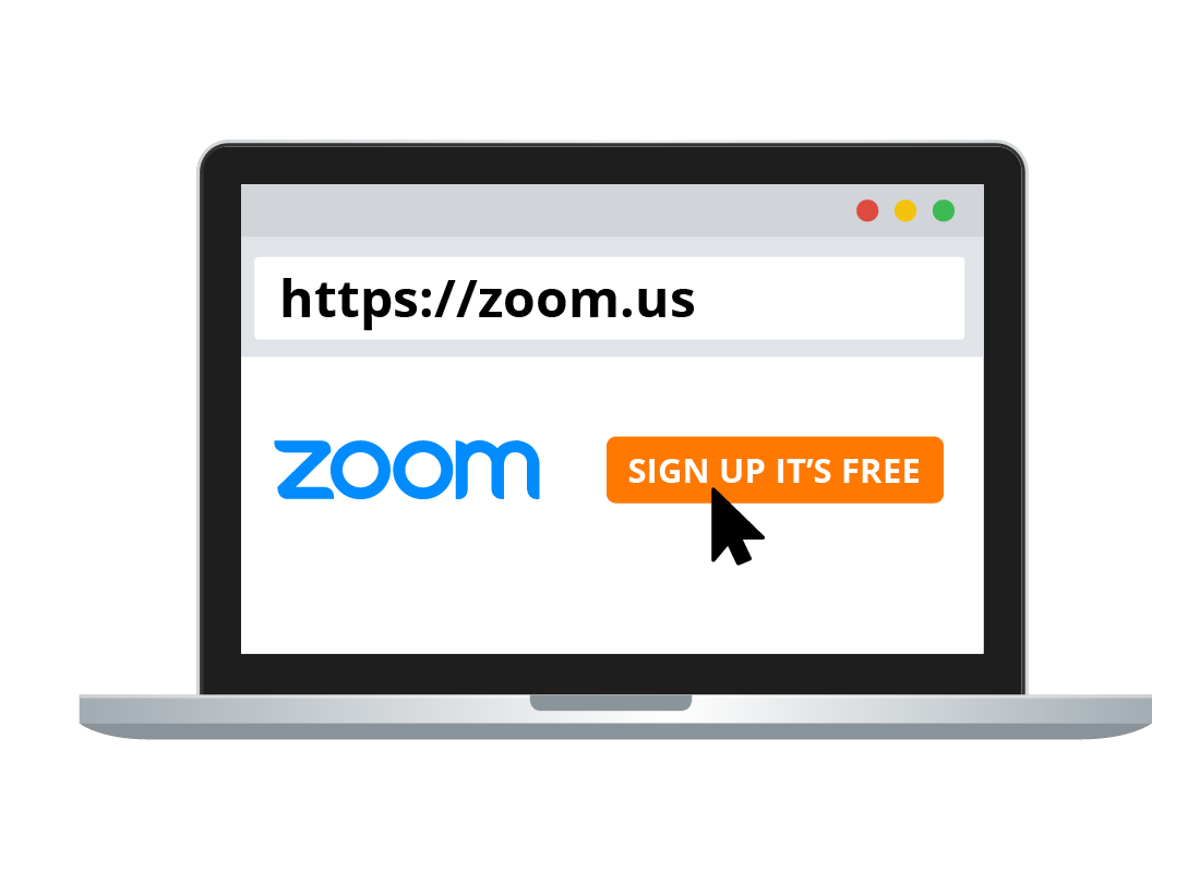 A laptop computer showing the zoom.us website on the screen.