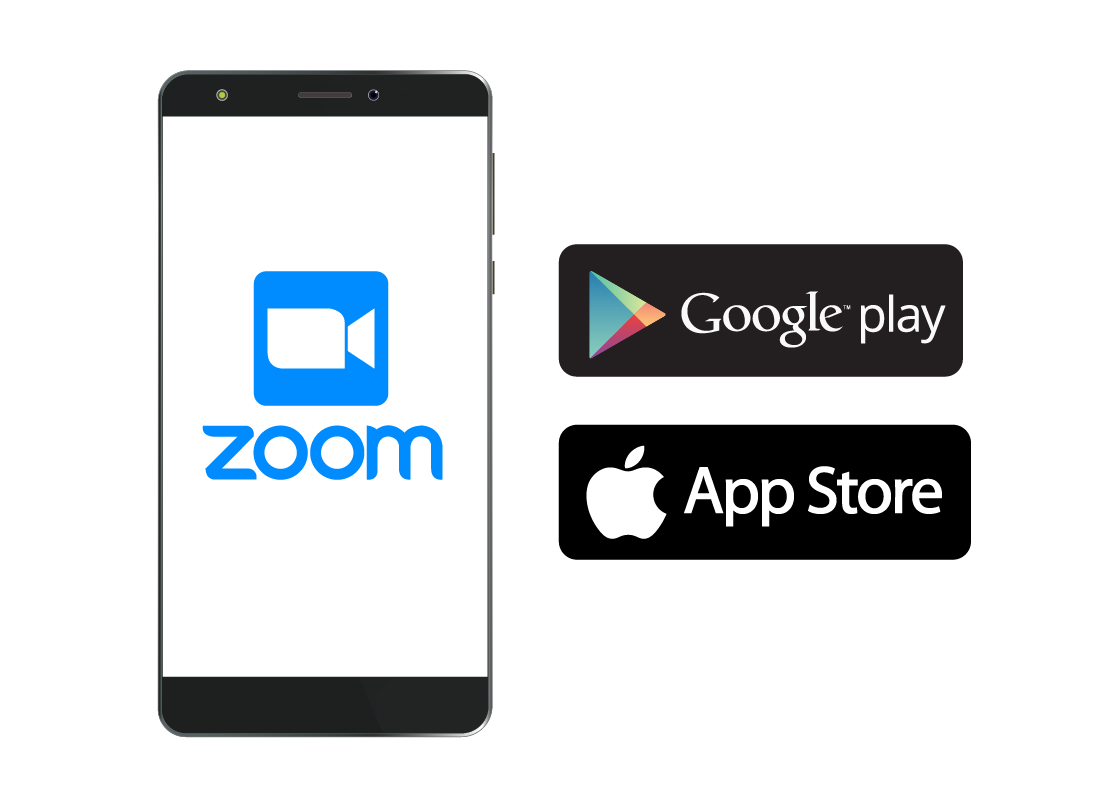 The Google Play and Apple App Store logos and a smartphone.