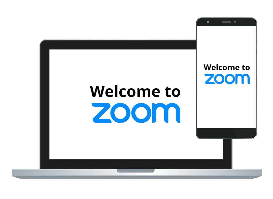 A laptop computer and a smartphone both using Zoom.