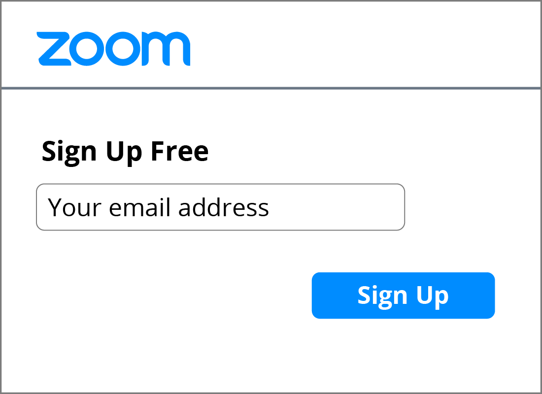 The email address text field on the Zoom sign up form.