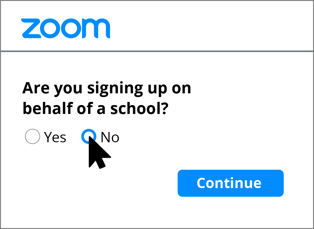 A close up of one of the Yes and No options needing to be completed as part of the Zoom sign up process.
