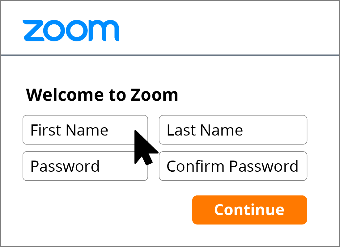 The name and password fields on the Zoom sign up form.