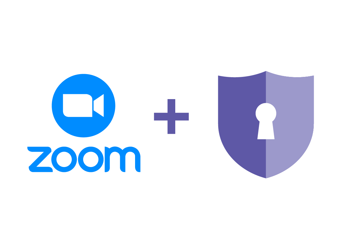 The Zoom logo and a graphic of a lock to denote safety.