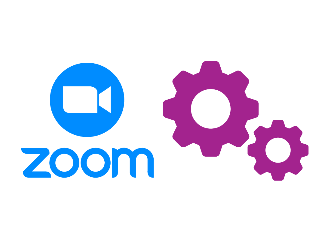 The Zoom logo and a graphic of settings icon cogwheels.
