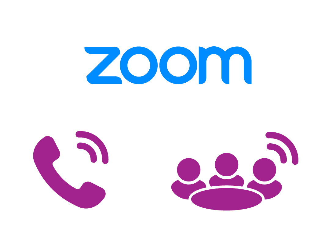 The Zoom logo and a icons of calls being made to others.