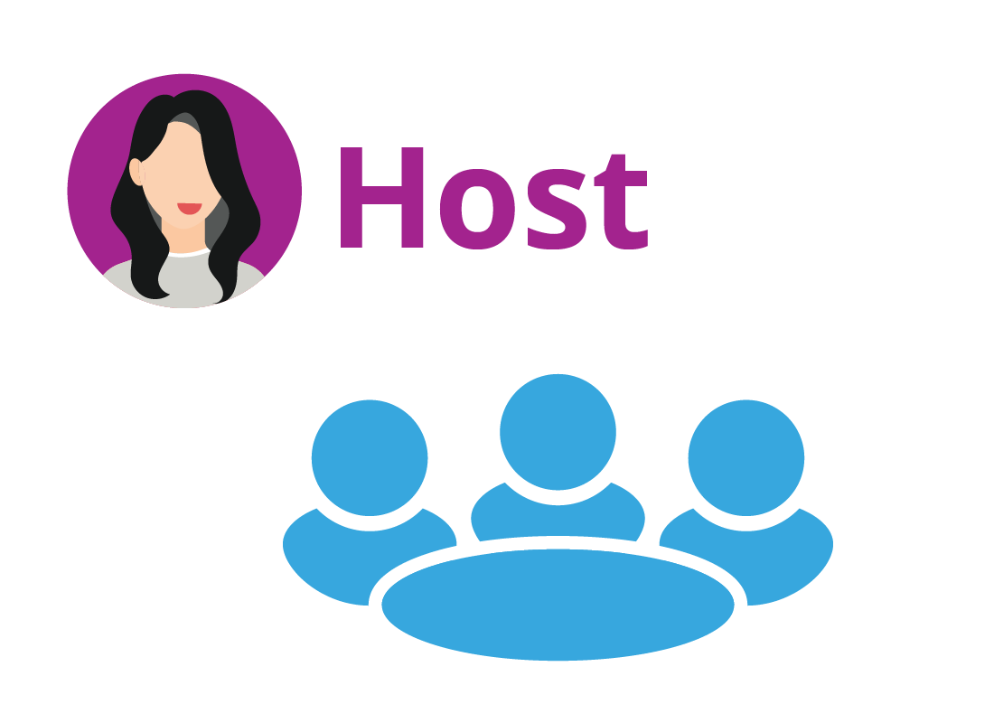 The Host of a Zoom meeting controls who can join and speak in a meeting, and when the meeting ends.