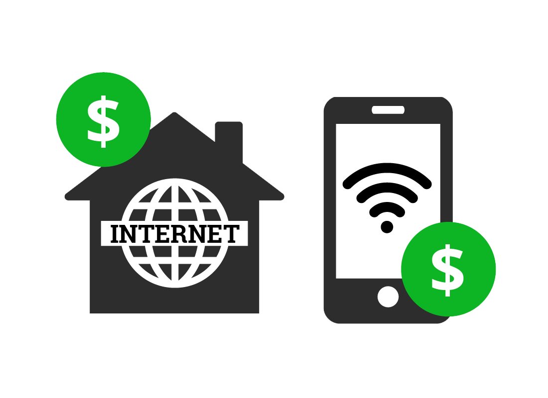 Data plans are available for both your home internet and mobile phone