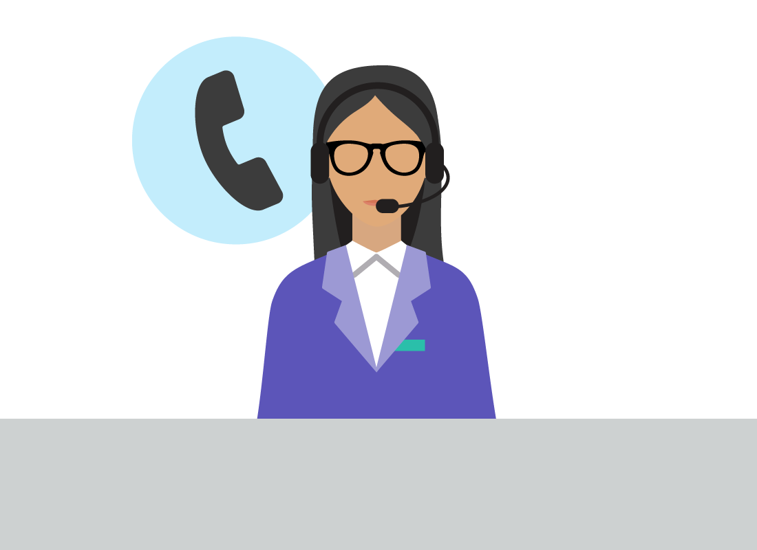 A graphic of a data company support person