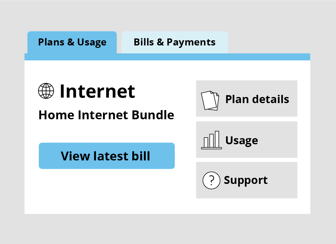 An example of a home internet bundle bill page