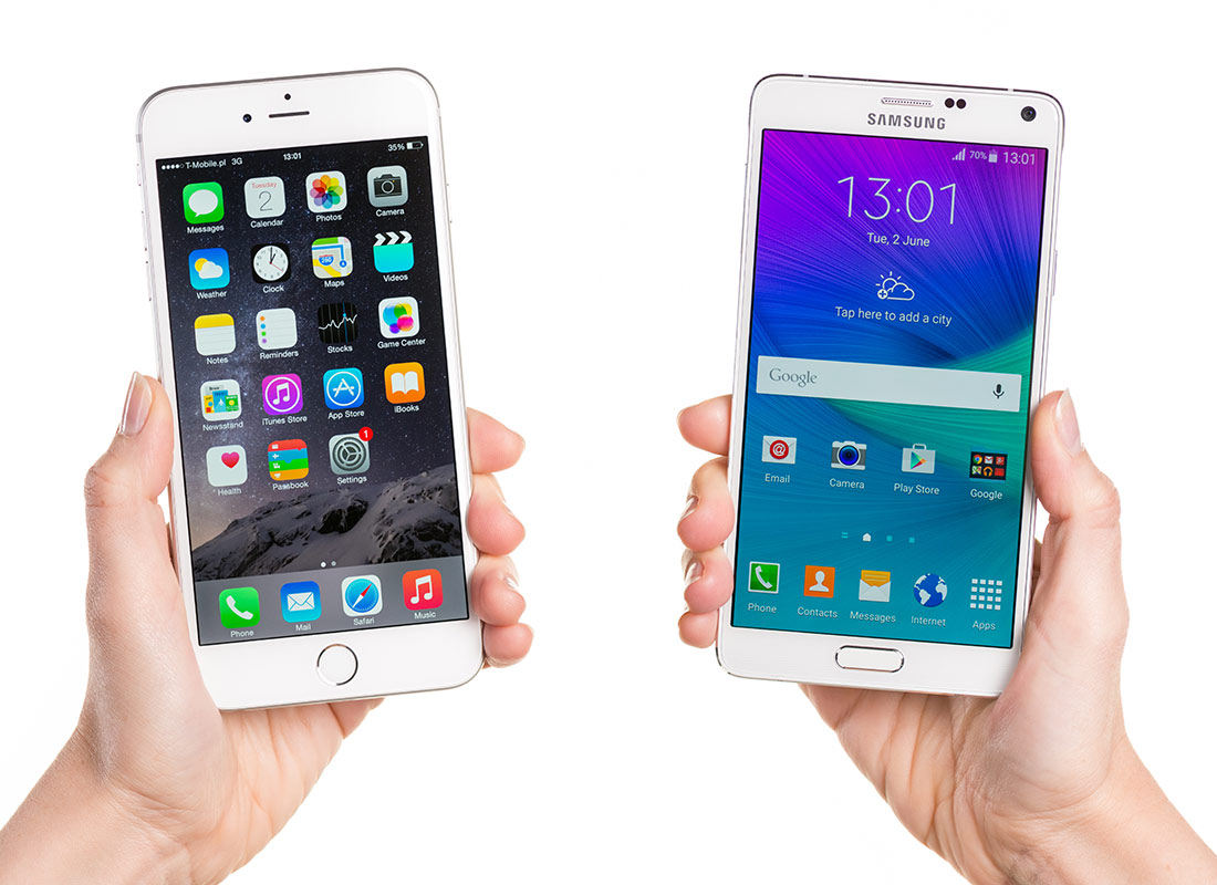 An Apple iPhone and an Android smartphone side by side