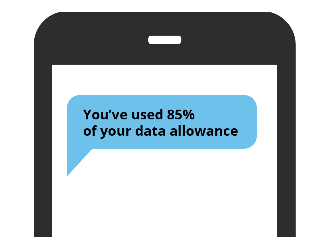 A text alert on a mobile phone advising that nearly all the month's data has been used