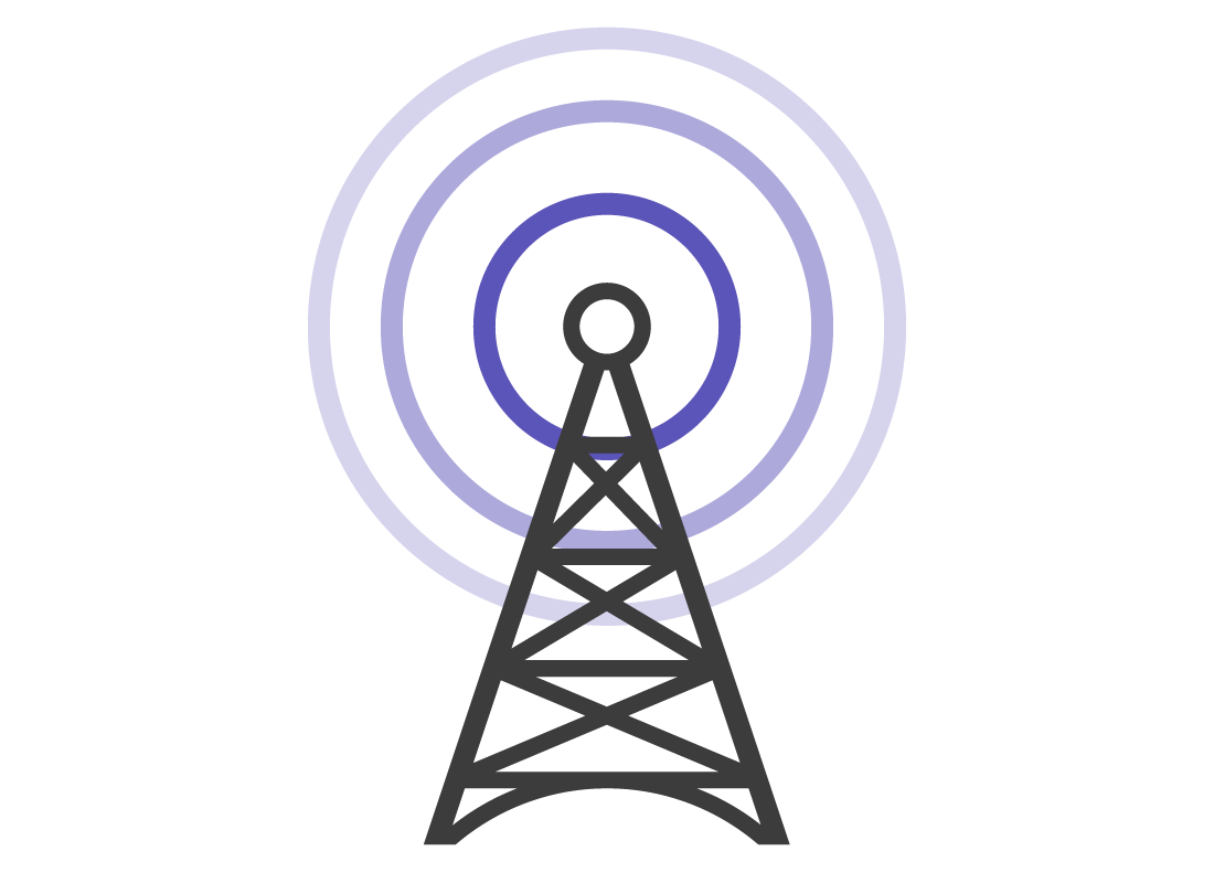 A graphic of a mobile data transmitter tower
