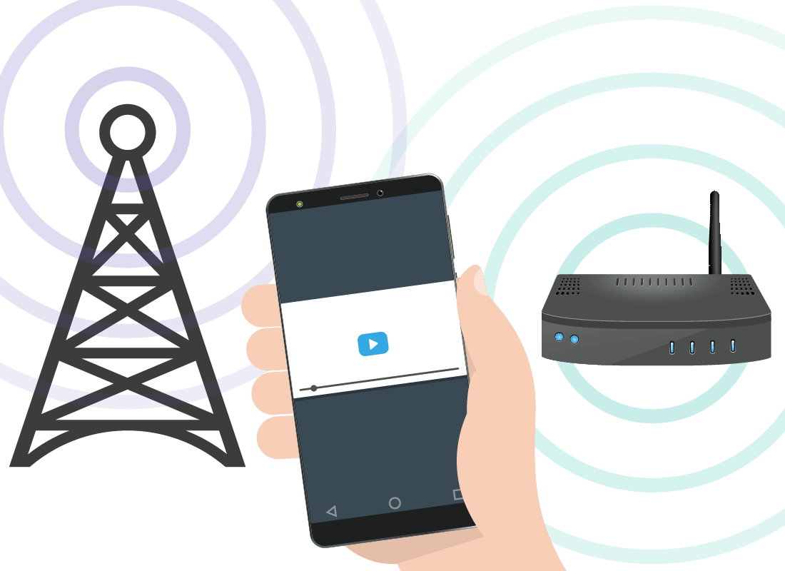A graphic showing a mobile phone able to connect to either home internet or mobile internet