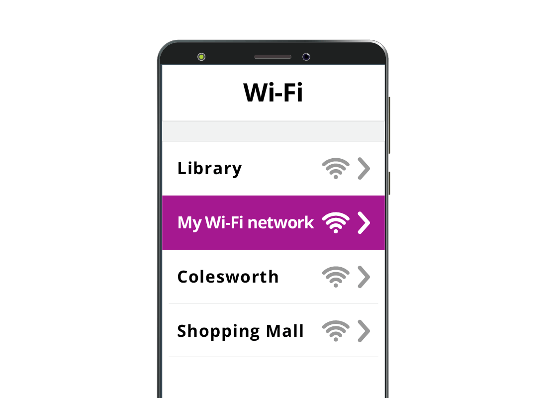 A mobile phone screen showing the owner's home Wi-Fi network name being selected