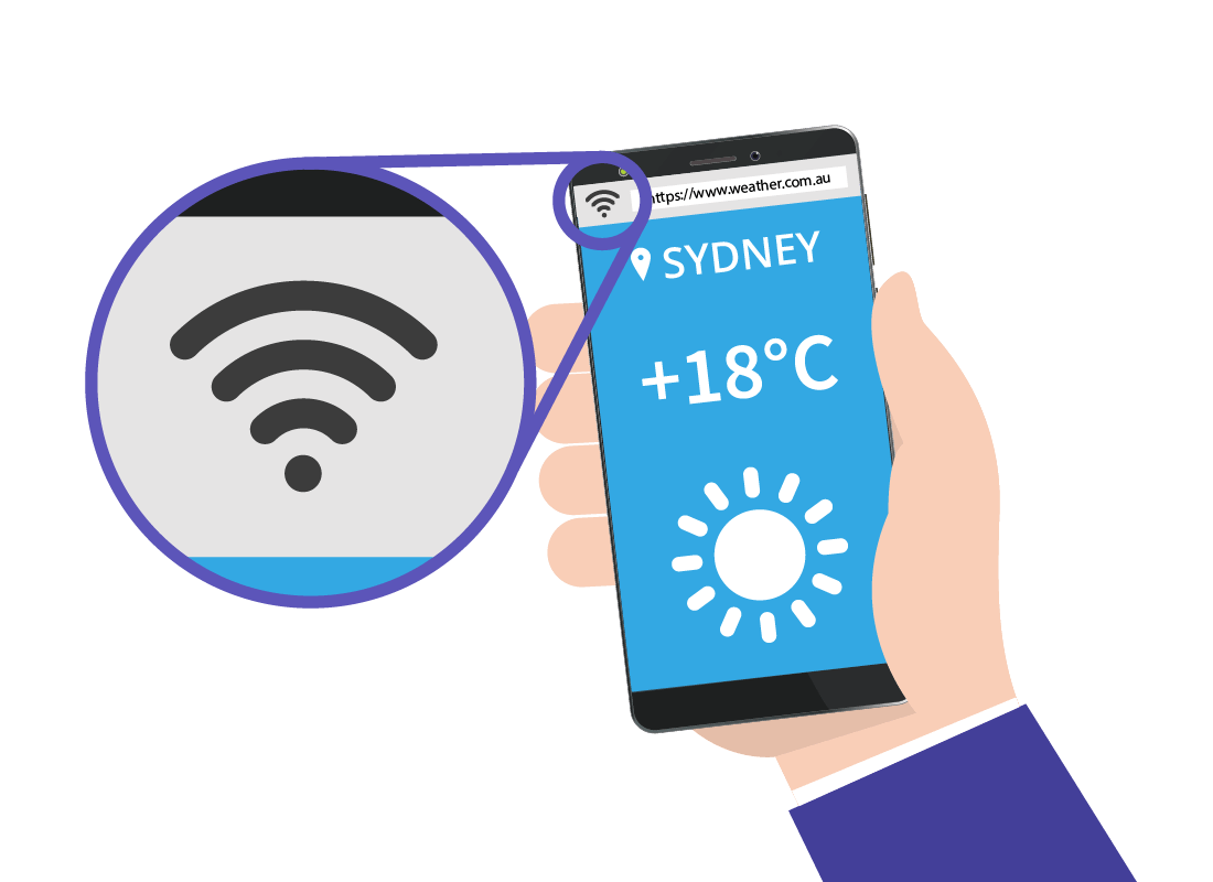 A zoomed-in view of the Wi-Fi strength icon on a mobile phone