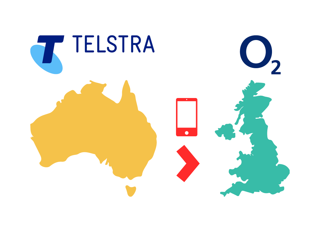 A graphic showing how international phone companies share their networks with each other