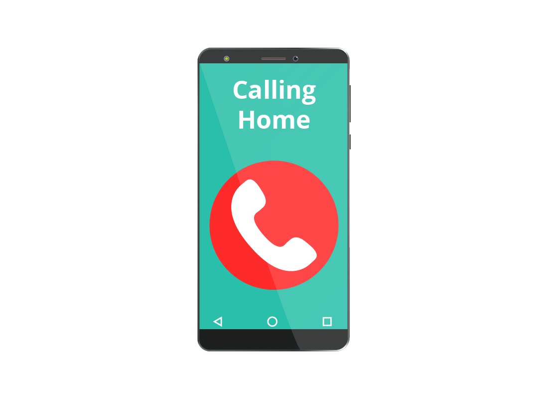 A mobile phone screen showing it is phoning home