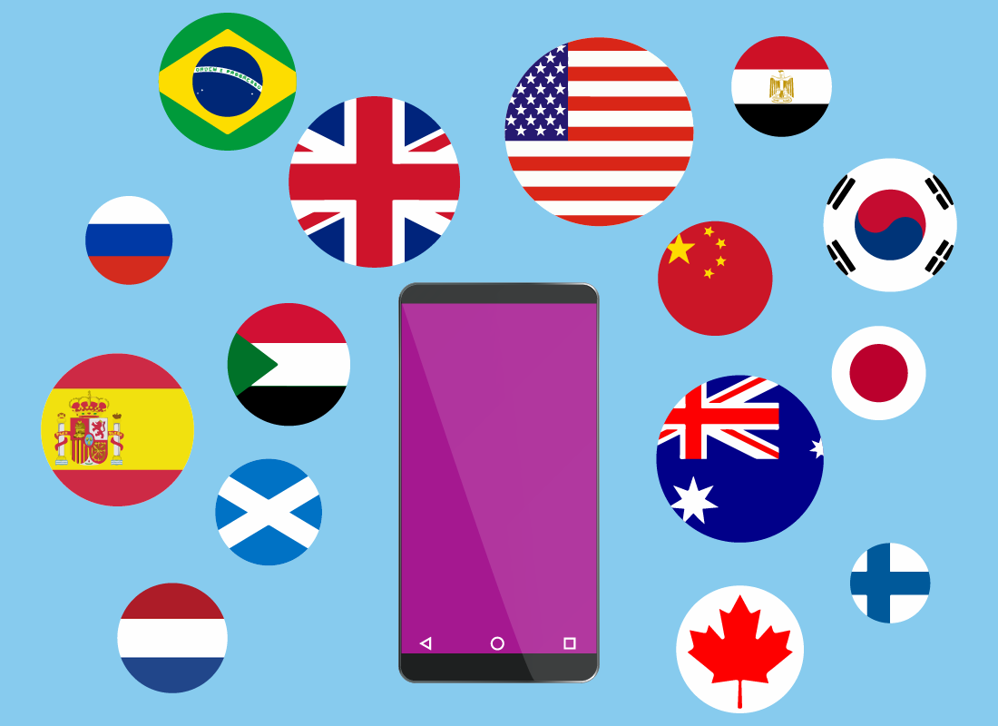 Flags of some of the many countries where we can use our Aussie mobile phones