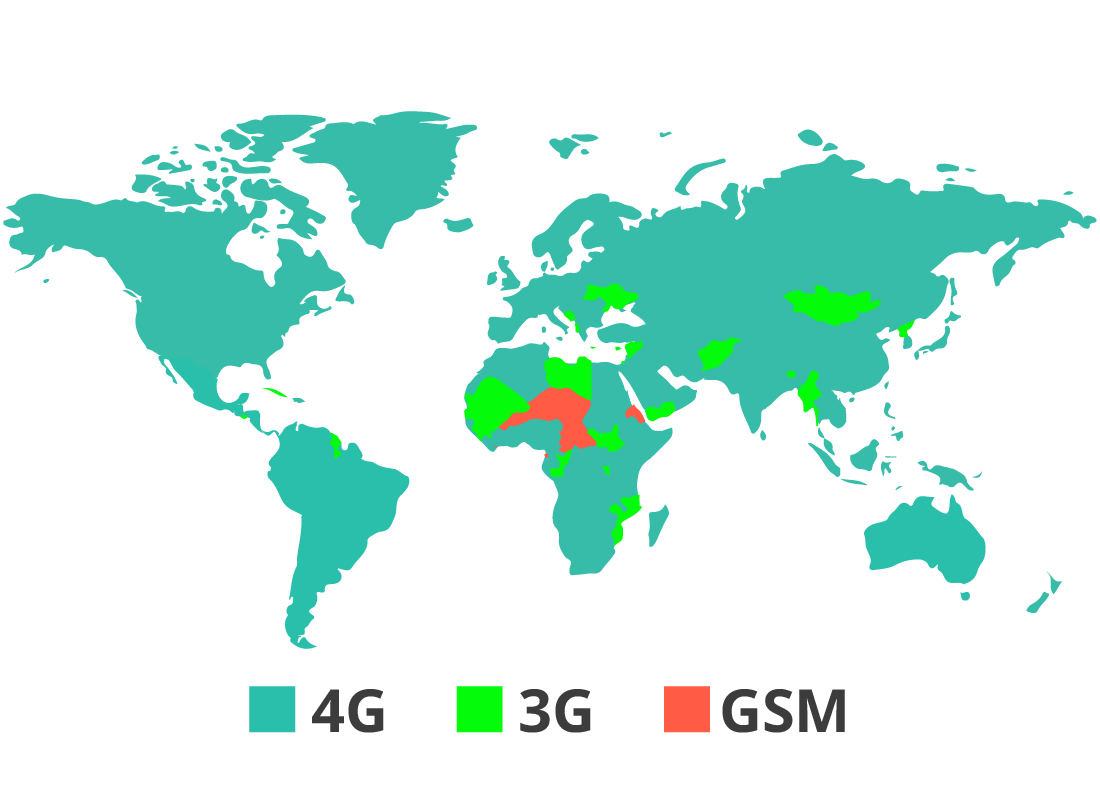 A map of the world showing where you can and cannot get mobile reception