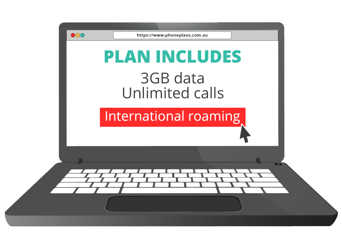 A laptop computer screen showing a web page for international roaming plans