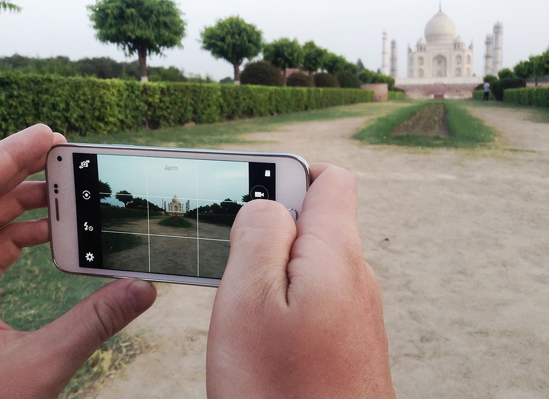 A mobile phone being used as a camera to take a holiday snap