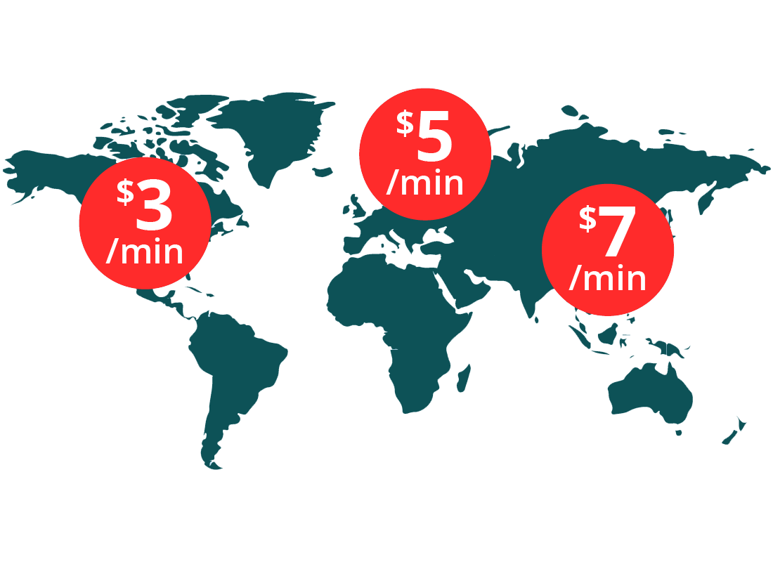 A map of the world with indications of how much per minute it costs to call home using your mobile phone