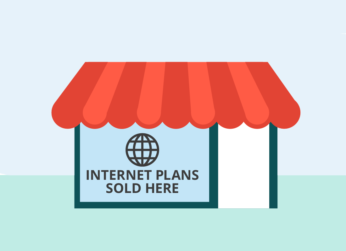 A graphic of a shop front for a mobile and home internet provider