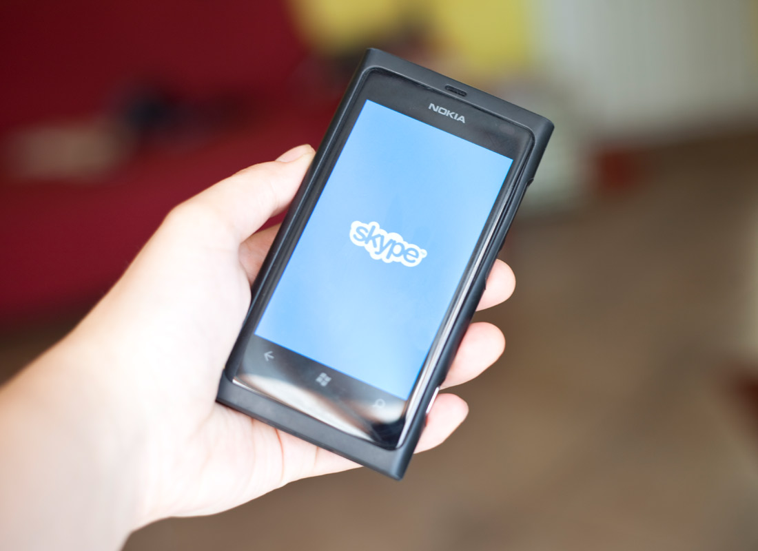 A mobile device using the video calling program called Skype