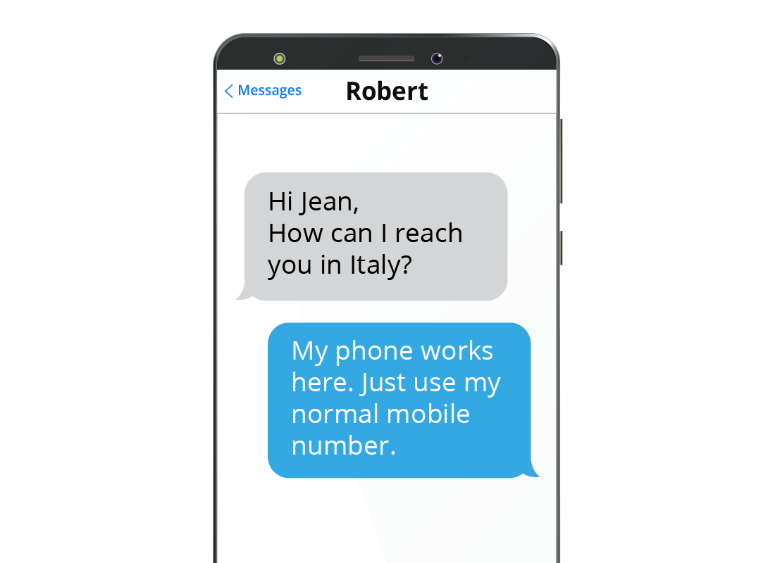 A mobile phone screen showing two people connecting over text messages