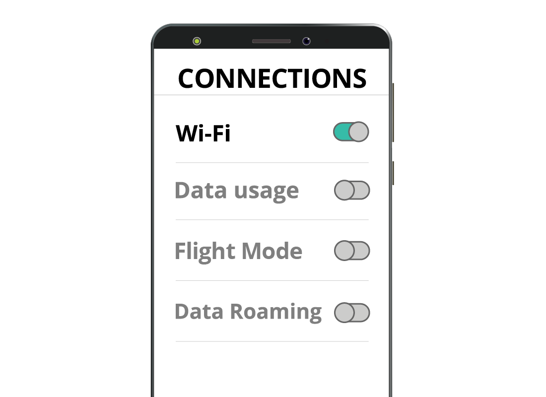 A mobile phone screen with the Wi-Fi button enabled