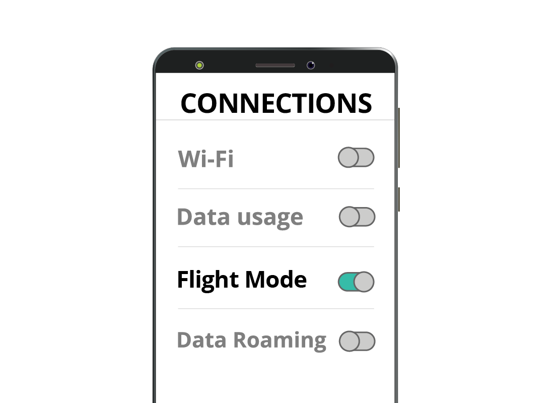 A zoomed-in view of a mobile phone settings page, including the Flight Mode button that is switched on