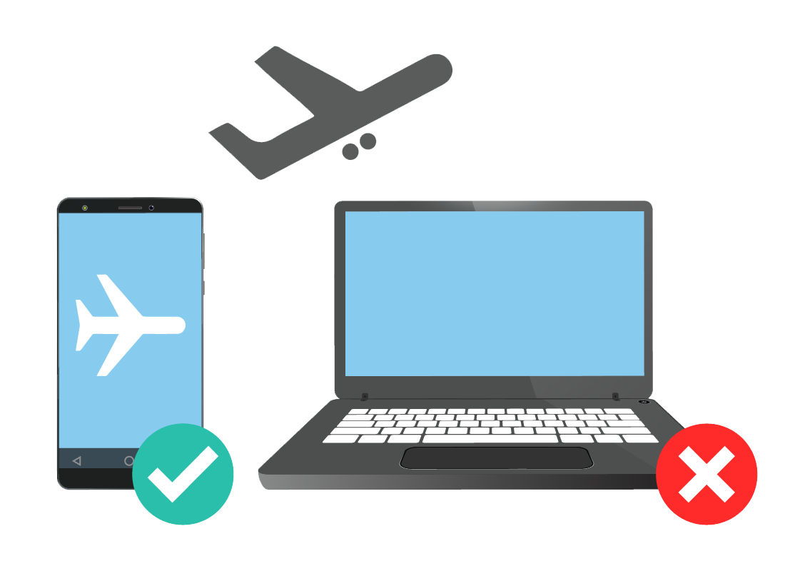A graphic showing a mobile phone and a laptop