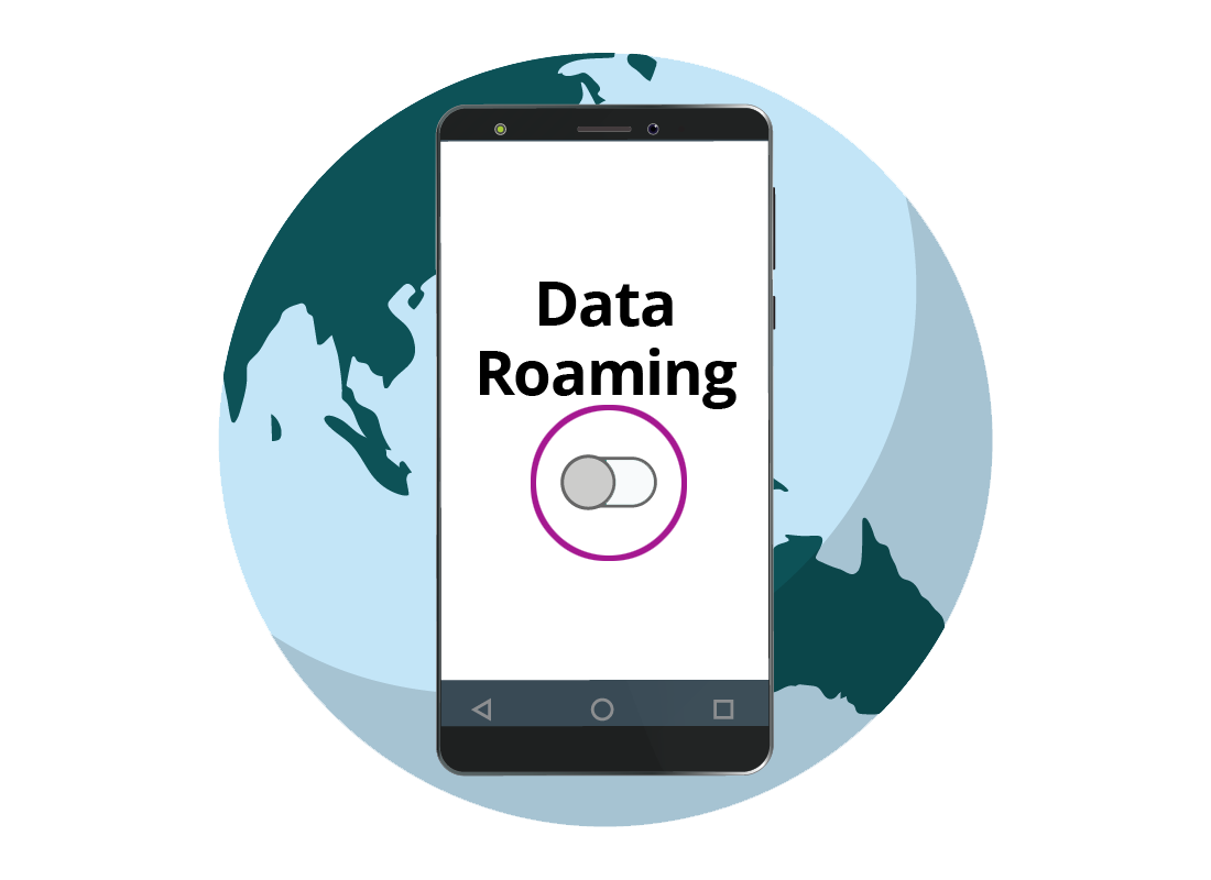 A graphic of a mobile phone indicating the Data Roaming switch should be turned off to avoid unexpected bills