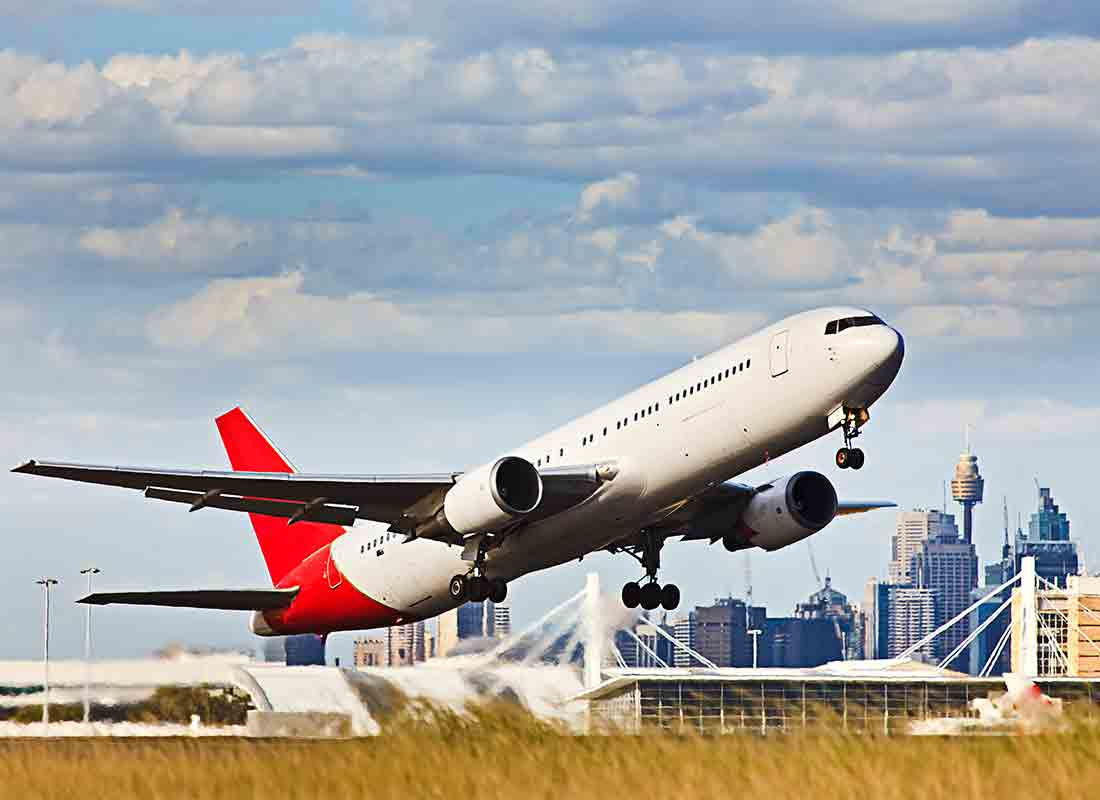 A plane taking off from Sydney airport