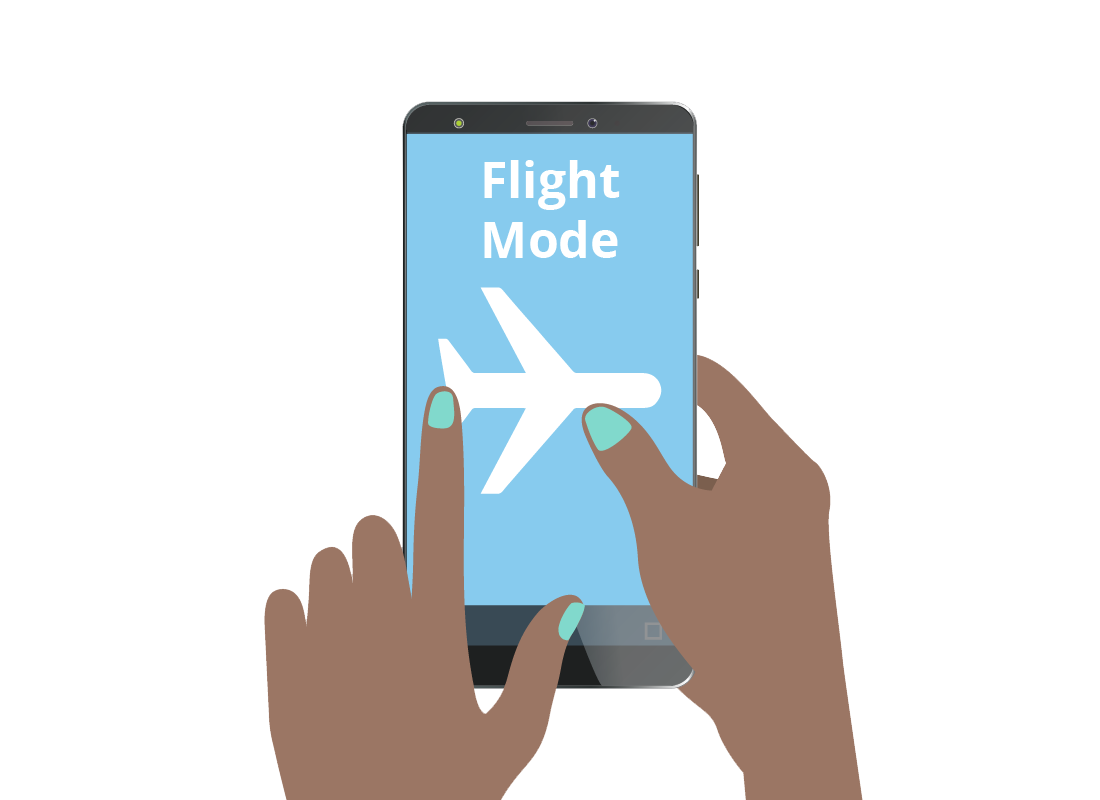 Kathleen switches her phone to Flight Mode as soon as she arrives in the departure gate of the airport