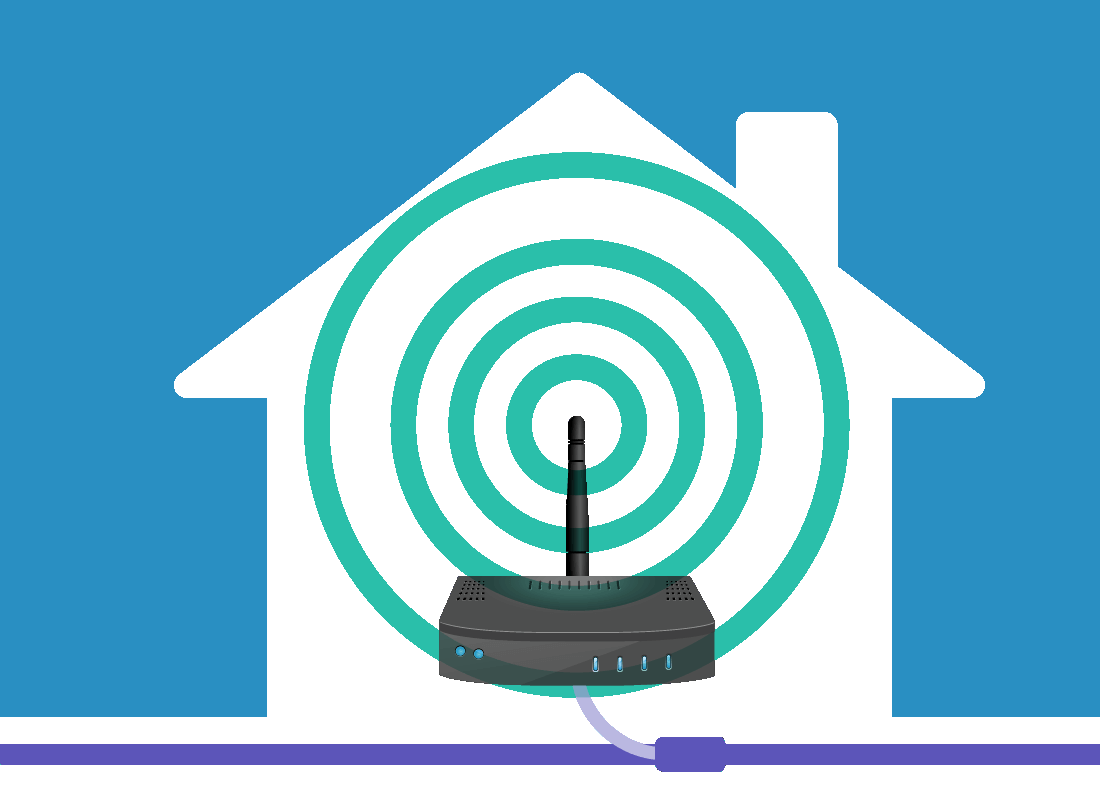 An illustration of a Wi-Fi box, or router, giving off a Wi-Fi signal inside a house.