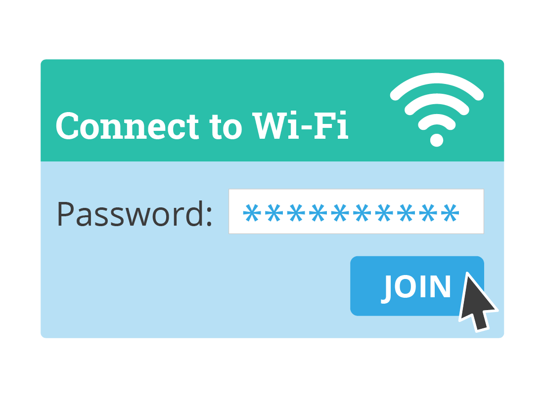 An illustration showing the password screen to connect to Wi-Fi.