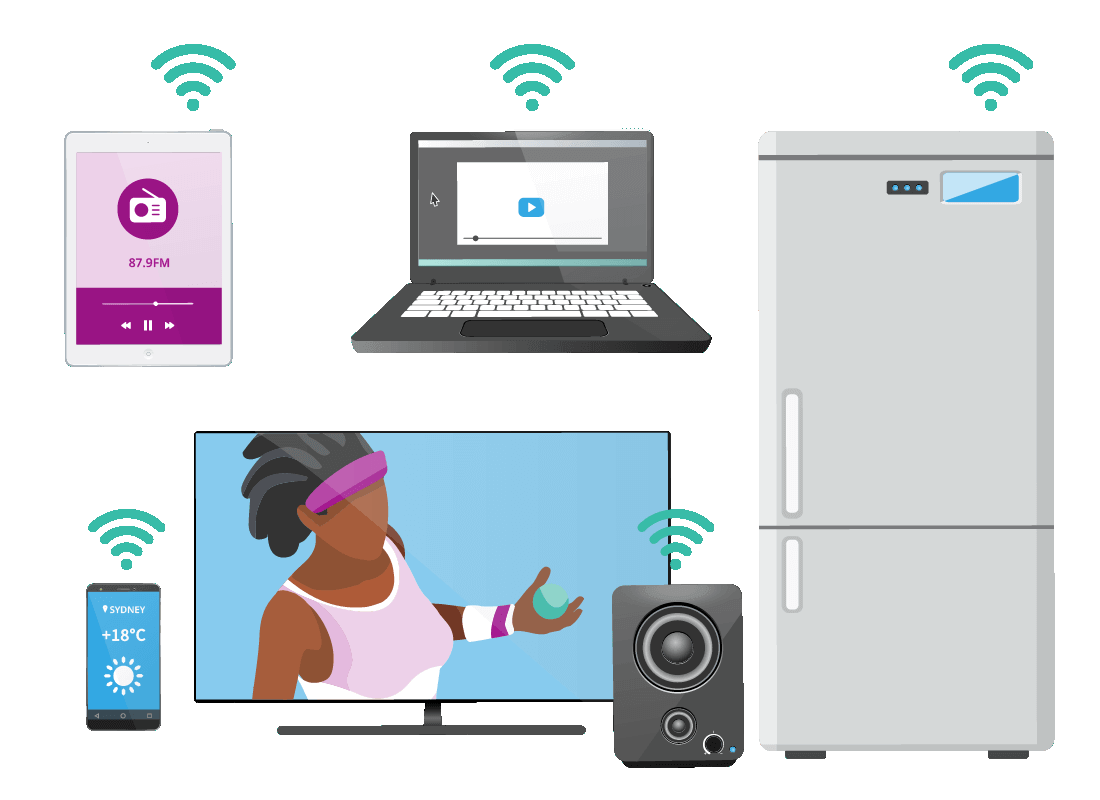 Different devices using Wi-Fi, including a smart fridge, speakers, a smart TV, a smartphone, a laptop computer and a tablet.