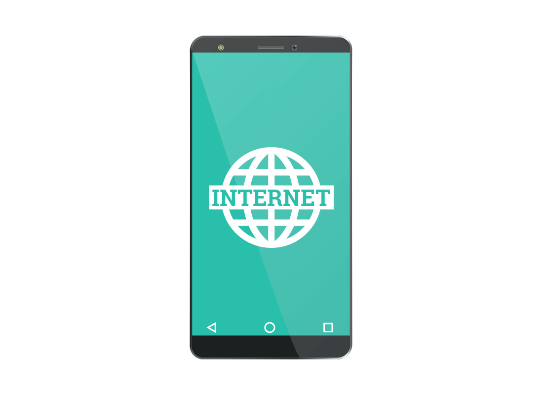 A smartphone screen showing it is connected to the internet
