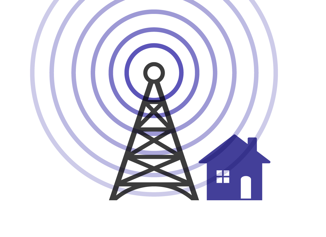 Mobile phone towers have many kilometres of range for their transmissions